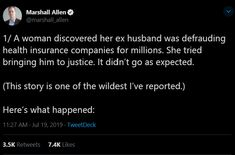 It's being referenced as a case study in how health insurers make it easy to scam millions off of people. Political Junkie, Health Insurance Companies, Weird Stories, Ex Husbands, Going To Work, Tumblr Funny, Personal Trainer, Case Study, Things To Think About