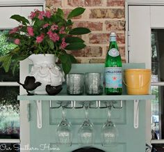 upcycled beverage station, outdoor furniture, outdoor living, painted furniture, repurposing upcycling