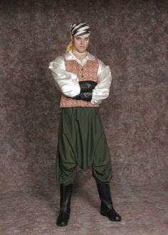 $30.00 Costume Rental  Pirate #1  green harem pants, stock shirt, red tapestry vest, gauntlets