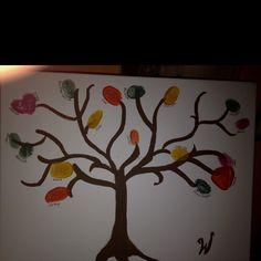 Cool canvas craft, each person visiting our house for Christmas this year made a thumbprint leaf on our tree. Fine tip sharpie labeled everyone's leaves. Now we have a keepsake of our gathering!