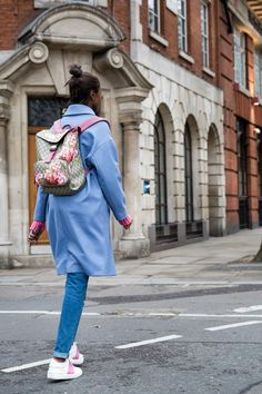 A colorful blue outfit that's perfect for London.