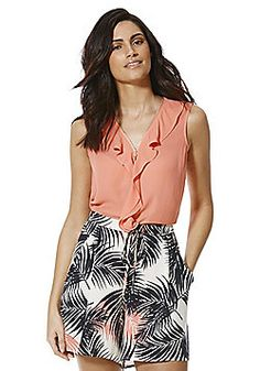 Explore a fantastic range of clothing from F&F at Tesco, with all the latest styles in kids', men's and women's clothes. Tesco Direct, Ruffle Trim, Boho Shorts, Short Dresses, Coral, Rompers, Fashion Outfits, Zip, Clothes For Women