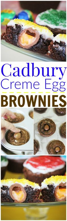 The most delicious fudgy brownies stuffed with Cadbury Creme Eggs!!!