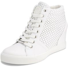 DKNY Cindy Perforated Sneaker ($150) ❤ liked on Polyvore featuring shoes, sneakers, white, white trainers, leather lace up sneakers, dkny sneakers, wedged sneakers and wedge sneakers