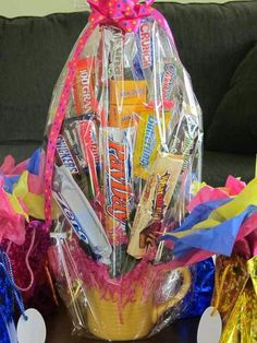 Baby shower game prize Can get a majority of this at the dollar tree. . . What woman doesn't like chocolate?