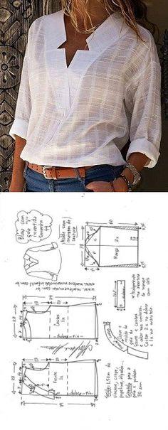 Blusa com decote V e gola invertida - DIY - molde, corte e costura - Marlene Mukai // Taika