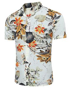 Cheap hawaiian shirt, Buy Quality summer casual shirts directly from China casual shirt men Suppliers: Summer Casual Shirt Men Short sleeve Stand collar Floral Printed Beach Hawaiian Shirt Plus size Loose Chemise Homme Blouses Mens Beach Shirts, Casual Shirts For Men, Men Casual, Men Shirts, Shirt Men, Stylish Shirts, Summer Shirts, Smart Casual, White Hawaiian Shirt