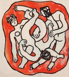 Lot : Fernand Léger (1881-1955)  - Plongeurs polychromes, vers 1949/50  - Gouache et encre[...] | Dans la vente Dessins Modernes à Tajan