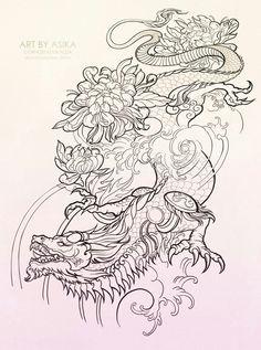 Art by Asika Photos Dragon Tattoo Sketch, Dragon Tattoo Designs, Dragon Sleeve Tattoos, Tattoo Design Drawings, Tattoo Sketches, Japanese Dragon Tattoos, Chinese Dragon Drawing, Japanese Tattoo Art, Tattoo Zeichnungen