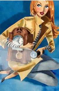 Here's a version of Nancy Drew in The Secret of the Old Clock. Love the striped shirt and trench coat combo! Inspiration for A Crime of Fashion. #ModelUnderCover #CrimeofFashion