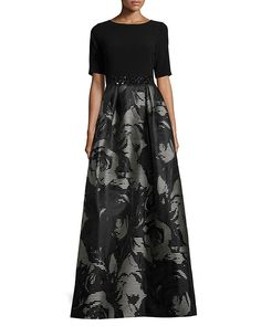 Metallic Blooms: Look like a million bucks in this black and metallic-finish floral jacquard ballgown. Ideal for women with hourglass or pear shaped body types, the floral pattern makes for a magical mother of the bride dress.