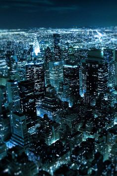 NYC. A bluish night view of Manhattan with Brooklyn in the background