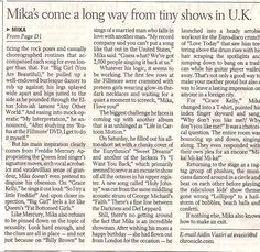 """""""Mika channels his Inner Freddie"""" - San Fransiscco Chronicle - English - 2007 - page 2 of 2"""