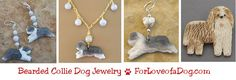 Handmade artisan Bearded Collie dog jewelry at ForLoveofaDog.com