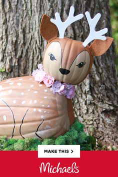 Oh, deer! We've turned two craft pumpkins into one adorable cutie (with the help of some paint and hot glue, of course). Make your own fall magic – follow our instructions below to DIY this super-sweet Deer Woodland Critter Pumpkin!