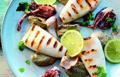 Calamari grigliati con crema di melanzane