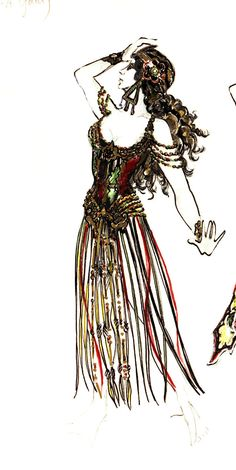 A sketch of one of a slave girl's costume in the opera Hannibal, by the talent Maria Björnson. Parti-color velvet with gold metallic trims. Image courtesy of The Phantom US Tour