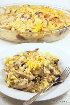 Creamy Baked Pasta with Chicken and Mushrooms I left out the chicken and added spinach. It was rich and delicious!