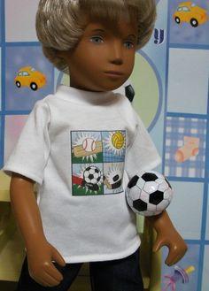 "Wonderful World of Dolls -  Fits 16"" Sasha Boy Doll . White Short SleeveT-Shirt--Sports ... D316, $9.50 (http://www.wonderfulworldofdolls.biz/fits-16-sasha-boy-doll-white-short-sleevet-shirt-sports-d316/)"