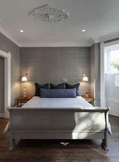 Gorgeous bedroom with Saint Germain Silver on Grey grasscloth available at walnut wallpaper #wallpaper