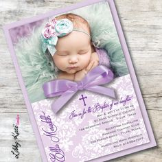 Vintage victorian pink peach baptism invitations di 824 custom photo baptism invitation girl photo christening by libbykatesmiles stopboris Image collections