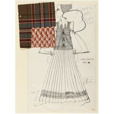 Fashion design drawing.  Date:1970 (made). Artist/Maker:Bill Gibb. This is a fashion design for a long pleated skirt, long-sleeved blouse, laced jerkin and cloche hat, with two fabric samples attached. This design featured in Vogue in 1970 and the Sunday Times among other magazines. This design shows how different wool fabrics are used with contrast colour and pattern.