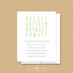 alphabet // baby shower invitation set // baby announcement // modern invite // boy // abc's by OliveandStar on Etsy https://www.etsy.com/listing/226252927/alphabet-baby-shower-invitation-set-baby