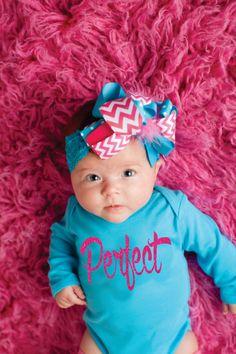 Onesie Only ~ Baby Girls Aqua and Fuchsia Perfect Long Sleeve Bodysuit Sparkle Glitter