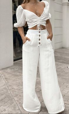 Casual Work Outfits, White Outfits, Classy Outfits, Stylish Outfits, Casual Dresses, Cool Outfits, Summer Outfits, White Fashion, Look Fashion