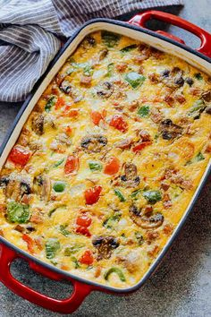 Baked Denver Omelet Breakfast Casserole is the perfect dish when you want to feed a crowd or even make freezer friendly breakfast bars that can be warmed up and eaten on the go. Loaded with onions, pe