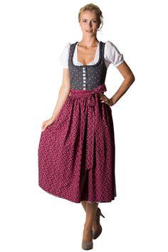 Hammerschmid Damen Langes Dirndl Pillersee grau/rot D010190 36