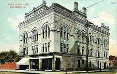 Rockford Illinois IL 1908 Sera Music Hall Collectible Antique Vintage Postcard