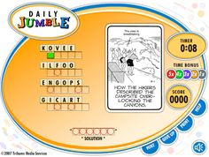 Universal Uclick #get #answers http://health.nef2.com/universal-uclick-get-answers/  #jumble puzzle answers # Jumble Classic by © Tribune Content Agency, LLC Available for Web / HTML5 America's #1 puzzle game, Jumble Classic has been delighting word-puzzle enthusiasts for more than 60 years. With it's simple mechanics and brain-teasing anagrams, it is a hit with consumers in both print and online. Play is simple, just unscramble four words, then use their answers to decode the final clue…