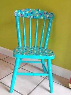 Painted Wood Spindle Back Child's Chair, Turquoise / Decoupaged ABC's in Primary Colors. $45.00, via Etsy.