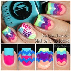 Nail Art Tutorial - multi-colored chevron manicure - Neon Rainbow with the Cirque Vice Collection  |  Sassy Shelly