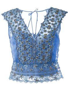 Alberta Ferretti Beaded Lace Top - Eraldo - Farfetch.com