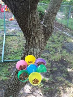 Making an Easter Egg Bird Feeder out of all those stinkin' plastic eggs I keep finding all over my house! Butterfly Feeder, Plastic Easter Eggs, Easy Easter Crafts, Girl Scout Crafts, Egg And I, Nature Crafts, Egg Hunt, Recycled Crafts, Bird Feeders