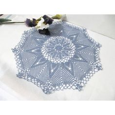 Lace Pineapple Crochet Doily, Pastel Blue Doily, Table Accessory,... ($54) ❤ liked on Polyvore featuring home, home decor, colored doilies, lace doilies, handmade home decor, round lace doilies and crochet lace doilies