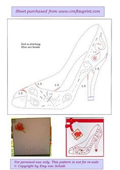 ED065 Ladies shoe on Craftsuprint designed by Emy van Schaik - Stitching with beads - Now available for download!