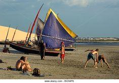 Typical Brazilian fishing boat, at Jericoacoara Beach, Ceara, Brazil