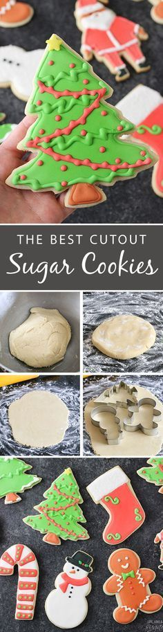 Cutout Sugar Cookies with Royal Icing - the best! They're soft, delicious and don't need to be refrigerated before baking!: