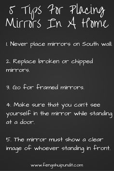 5 dead simple tips for ideal placement of mirrors in your home.. you'll find more @ http://www.fengshuipundit.com/feng-shui-mirror-placement/  #FengShui, #FengShuiTips, #FengShuiMirrorPlacementTips, #FengShuiForHome
