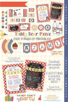 Teddy Bear Picnic Red Printable Party Kit Teddy Bear