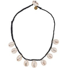 Cocobelle Buzio Necklace ($32) ❤ liked on Polyvore featuring jewelry, necklaces, joias, black, tribal jewellery, macrame necklace, sea shell necklace, shell jewelry and seashell jewelry