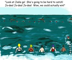 Look at Jodie go!  She's going to be hard to catch!  Wow, we could actually win.