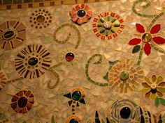 broken tile flower mosaic