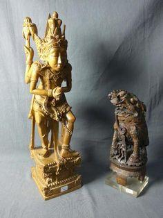 BIRMANIE : Sculpture en bois représentant une divinité dansante,
