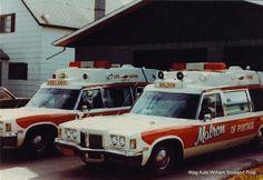 fleet of vintage customized ambulances