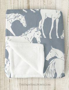 Horses All Over Fleece Throw Blanket