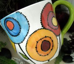 Sheree Burlington on Etsy Pottery Painting Designs, Pottery Designs, Mug Designs, Ceramic Cups, Ceramic Pottery, Ceramic Art, Painted Mugs, Hand Painted, Painted Ceramics